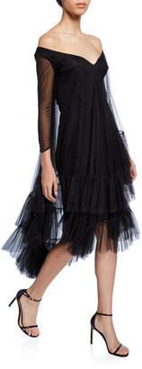 La Petite Robe 3/4-Sleeve Mesh Sleeve Dress