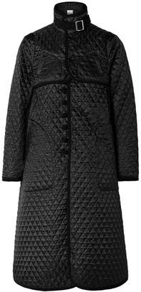 Noir Kei Ninomiya Quilted Canvas-trimmed Houndstooth Satin-jacquard Coat - Black