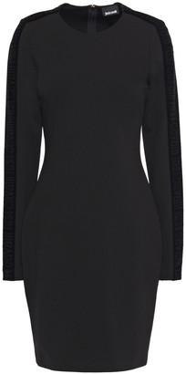 Just Cavalli Velvet-trimmed Stretch-jersey Mini Dress