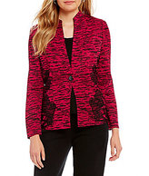Ming Wang Long Sleeve Lace Trim Jacket