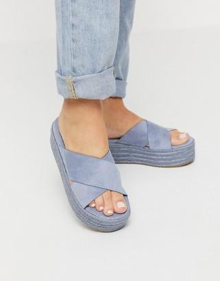 Xti cross strap flatform espadrille sandals in denim