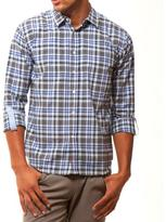 191 Unlimited Men's Slim Fit Blue Plaid Shirt