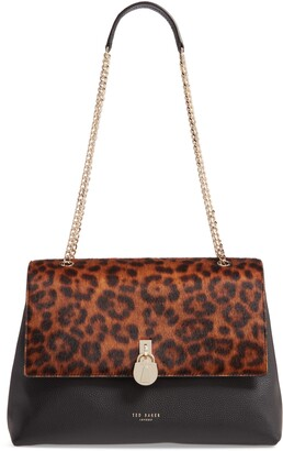 Ted Baker Cliarra Leopard Print Genuine Calf Hair & Leather Shoulder Bag