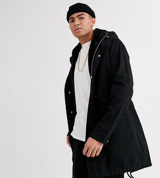 ASOS DESIGN Tall parka jacket in black with detachable faux fur liner