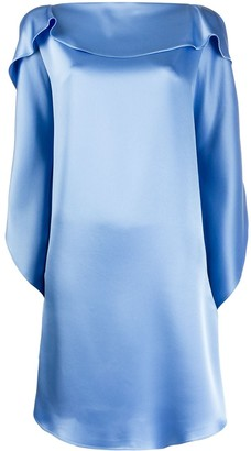 Gianluca Capannolo Silk Ruffle Sleeve Dress