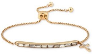 Unwritten Gratitude & Grace Crystal Baguette & Cross Charm Bolo Bracelet in Gold-Flash