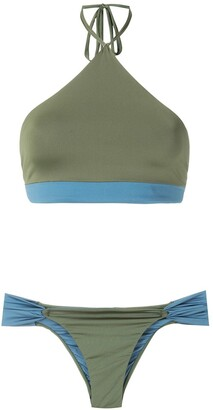 ESC Two-Tone Cropped Bikini Set