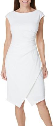 London Times Women's Petite Asymetrical Hem Sheath Dress