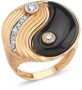 Yin & Yang Yin Yang Ring With White Diamonds & Onix