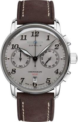 Zeppelin Men's Chronograph Japanese Quartz Movement Watch with Leather Strap 8678-4