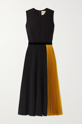 Roksanda Zahida Color-block Velvet-trimmed Georgette And Silk-satin Midi Dress - Black