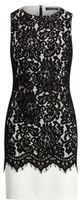 Ralph Lauren Lace-Overlay Sheath Dress Black-Ivory 6