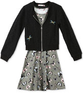 Speechless 2-Pc. Lace Bomber Jacket and Butterfly-Print Dress Set, Big Girls (7-16)