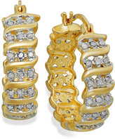 "Townsend Victoria Rose-Cut Diamond ""S"" Hoop Earrings in 18k Gold over Sterling Silver (1/2 ct. t.w.)"