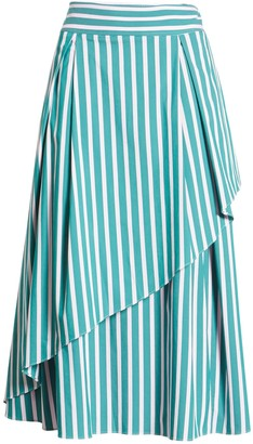Halogen X Atlantic-Pacific Stripe Asymmetrical Skirt