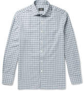 Dunhill Slim-fit Cutaway-collar Checked Brushed-cotton Shirt - Blue