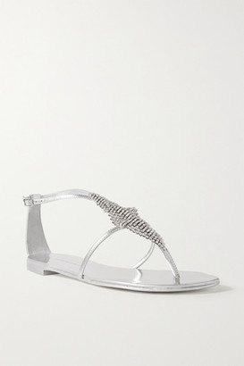Giuseppe Zanotti Nuv Crystal-embellished Metallic Leather Sandals - Silver