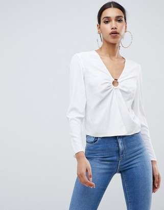 Asos Design DESIGN long sleeve top with ring detail and split front-White