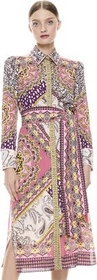 Alice + Olivia Luanne Tie Waist Midi Dress