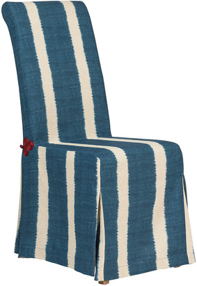 OKA Ikat Stripe Loose Cover For Echo Dining Chair - Dark Blue