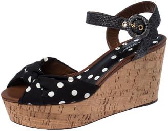 Dolce & Gabbana Black Raffia And Polka Dot Fabric Cady Cork Wedge Platform Slingback Sandals Size 39.5
