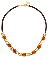 French Connection Resin and Metal Tube Bead Mix Frontal Necklace