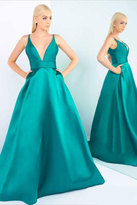 Ieena for Mac Duggal - Slip Gown Style in Emerald Green 55010
