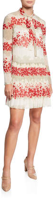 RED Valentino Dreaming Peony Print Tie-Neck Long-Sleeve Muslin Dress