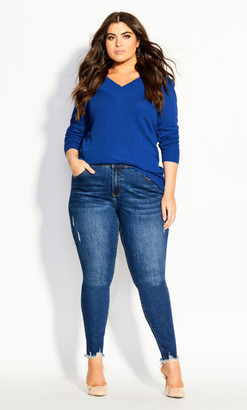 City Chic Sweet Love Jumper - electric