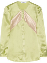 Givenchy Silk-satin Blouse With Contrast Bands - Mint