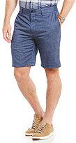 Hart Schaffner Marx Flat-Front Crosshatch Textured Wool-Blend Shorts