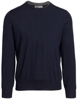 Brunello Cucinelli Suede Elbow Patch Crew Sweater