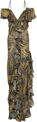 De La Vali Ruffle-trimmed Printed Silk-chiffon Gown