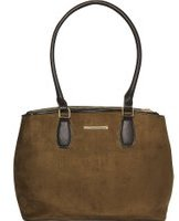 Dorothy Perkins Womens Khaki Double Zip Tote Bag- Khaki