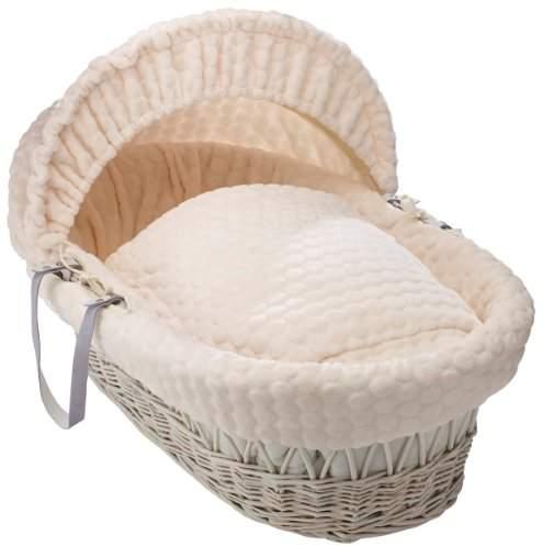Clair De Lune Marshmallow White Wicker Moses Basket inc. bedding, mattress & adjustable hood (Cream)