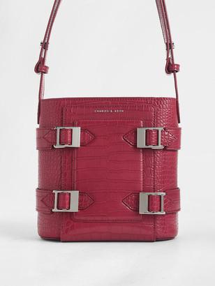 Charles & Keith Croc-Effect Buckle Bucket Bag