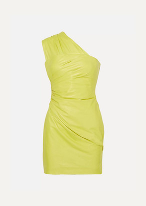 Versace One-shoulder Ruched Leather Mini Dress - Yellow
