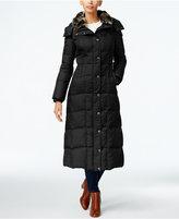 London Fog Faux-Fur-Collar Down Maxi Coat