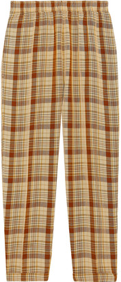 Acne Studios Paige Cropped Checked Broadcloth Tapered Pants