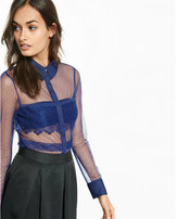 Express Sheer Mesh And Lace Long Sleeve Shirt