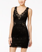 Trixxi Juniors' Sequined Lace Bodycon Dress