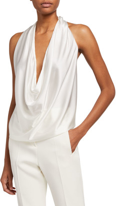 Ramy Brook Harriet Sleeveless Draped Silk Halter Top