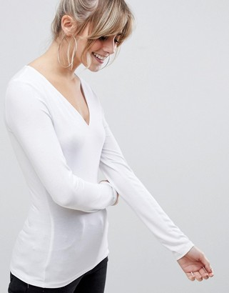 ASOS DESIGN ultimate top with long sleeve and v-neck in white