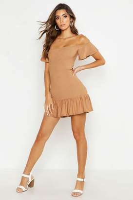 boohoo Off Shoulder Frill Hem Shirred Bodycon Dress