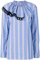 Marni striped asymmetric ruffle blouse