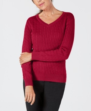 Karen Scott Petite Solid Cable-Knit V-Neck Sweater, Created for Macy's