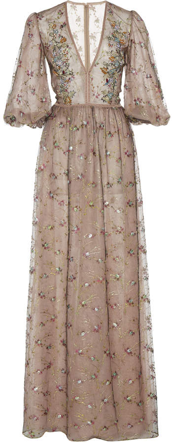 Costarellos Embroidered Crystal-Beaded Tulle Gown Size: 34