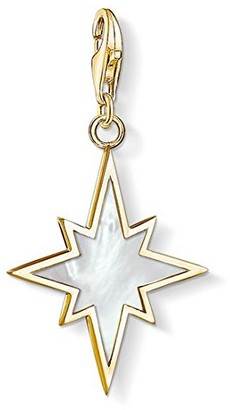 Thomas Sabo Women's 925 Sterling Silver Charm Star Mother of Pearl Club Yellow Gold Plating Pendant 1539-429-14