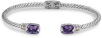 Samuel B. Sterling Silver & 18K Gold Amethyst Bangle Bracelet