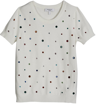 Milly Girl's Scattered Rhinestone Short-Sleeve Sweater, Size 7-16